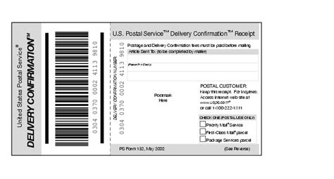 delivery confirmation receipt template shows form 152 delivery confirmation receipt