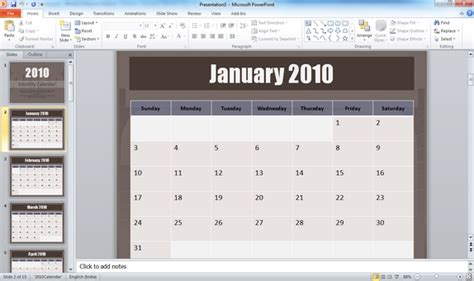 Insert Calendar In Powerpoint 2010 Centreurope Info How To Insert Calendar In Powerpoint