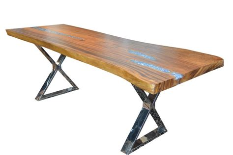 live edge solid wood slab dining table with resin and