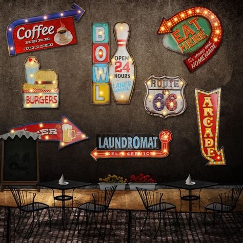 Home Decor Stores In Las Vegas 24 Style Retro Led Metal Sign Decorative Painting Bar