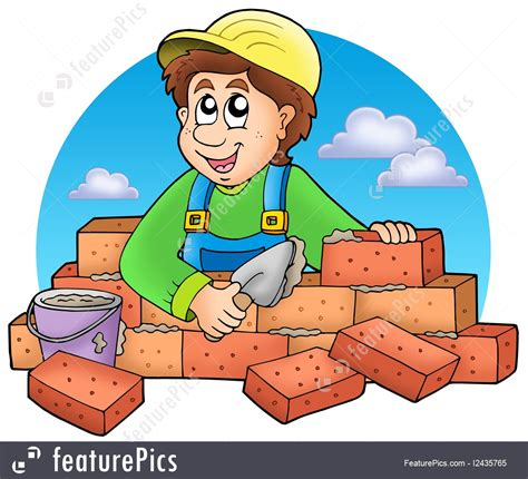 House Plan Creator People At Work Cartoon Bricklayer With Clouds Stock