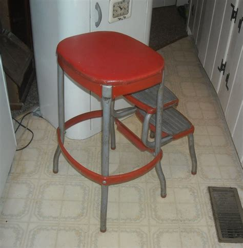 Cosco Retro Step Stool by Vintage Cosco Kitchen Folding Step Stool With Bo Back