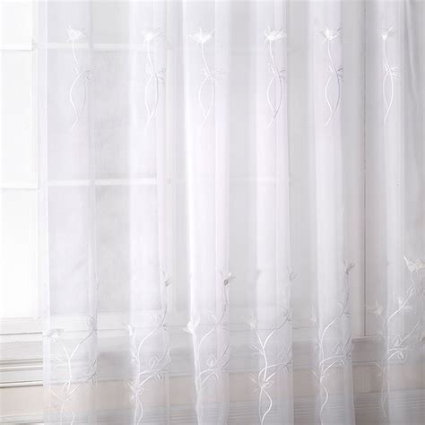 voile white curtains melissa floral embroidered voile curtain panel ebay