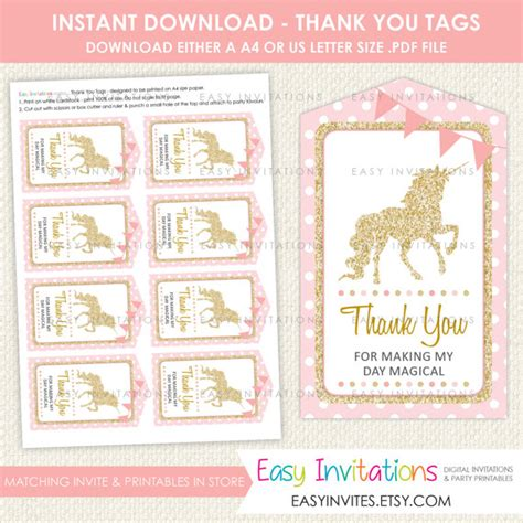 printable unicorn thank you tags unicorn thank you tag favor swing card birthday by