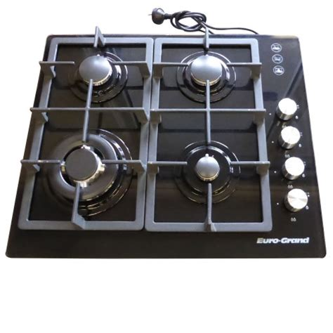 gas cooktop with wok burner catering equipment 60cm black glass top 4 burner gas