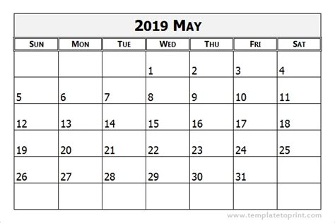 May 2019 Calendar Template Monthly Printable Calendar 2019 Monthly Calendar Template Excel