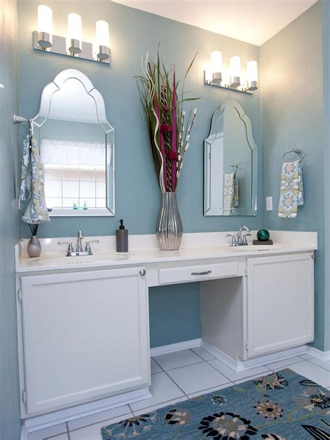the cute bathroom ideas worth trying for your home photos hgtv blue bathroom with double vanity and mirrors