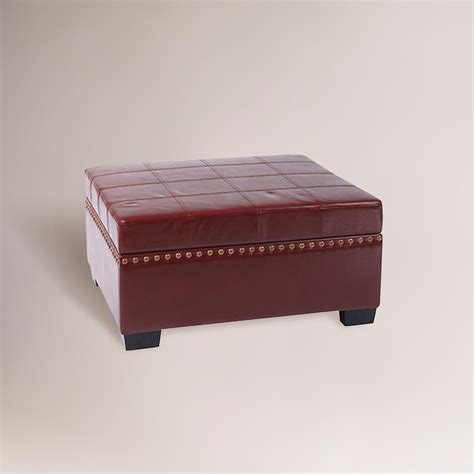 Red Bi Cast Leather Bowen Storage Ottoman World Market