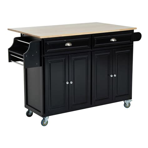 black kitchen island cart homcom kitchen island modern rolling storage cart on