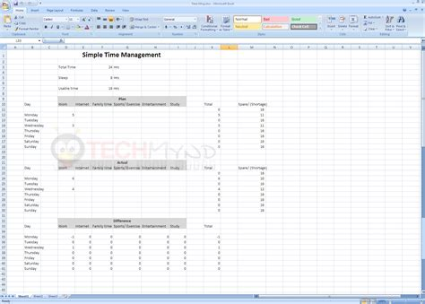 Time Management Using Simple Excel Sheet Freebies Techmynd Time Management Template Excel