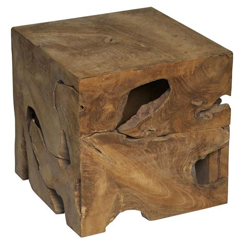 wood cube side table rolando rustic lodge teak wood cube side table kathy kuo