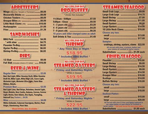 Hog heaven restaurant menu located in pawleys island sc offering seafood bbq catering and buffet