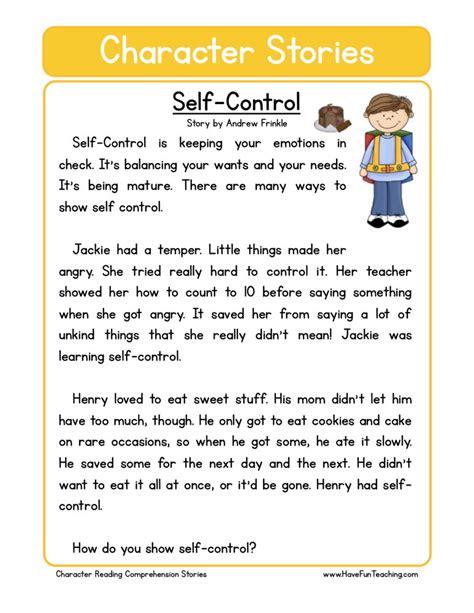 self control worksheets reading comprehension worksheet self control