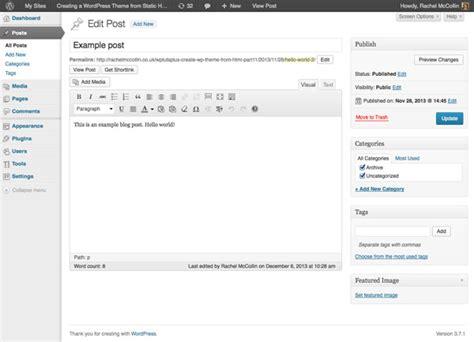wordpress theme editor add file creating a wordpress theme from static html adding
