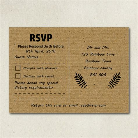 own cards kraft rsvp cards print your own rsvp card shabby chic