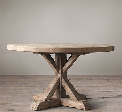Distressed Elm Belgian Trestle Round Dining Table Restoration Hardware Dining Room Tables
