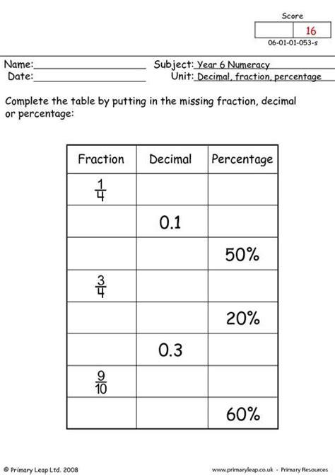 primaryleapcouk decimal fraction  percentage
