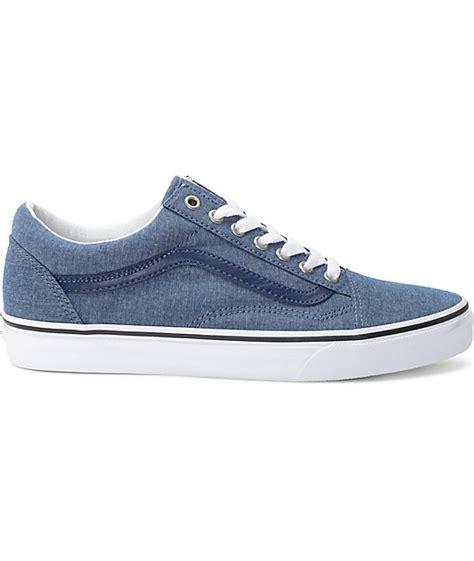 Vans Oldskool Chambray Addict3d vans skool blue chambray skate shoes zumiez