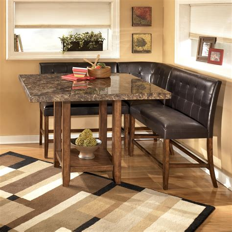 Corner Bar Table And Stools by Signature Design By D328 320 Upholstered