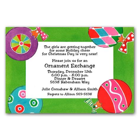ornaments feminine christmas invitations paperstyle