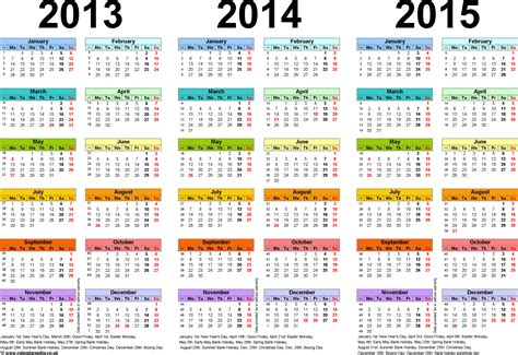 Three year calendars for 2013, 2014 & 2015 (UK) for PDF