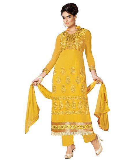 Venya Dress venya style yellow georgette embroidered designer