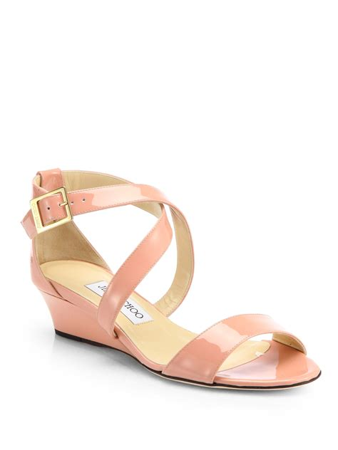 blush wedge sandals jimmy choo chiara patent leather wedge sandals in pink