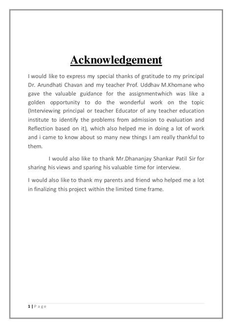 Acknowledgement Letter Mentor Assignment On Of A Principal Of A Education Institu