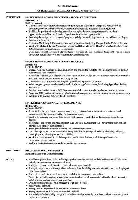 Marketing Associate Resume by Marketing Communications Associate Resume Sles Velvet