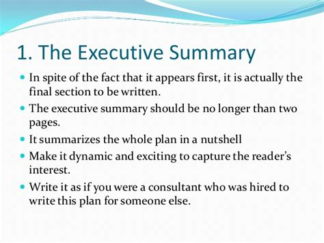 what should be in the summary of a resume business plan writing power point