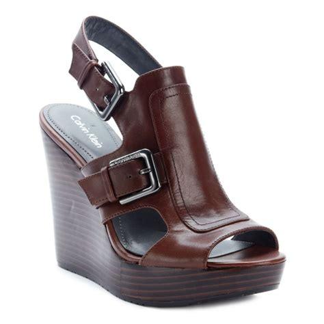 calvin klein wedge sandals calvin klein platform wedge sandals in brown walnut