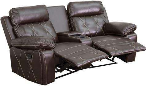 reclining theater reel comfort series 2 seat reclining brown leather theater