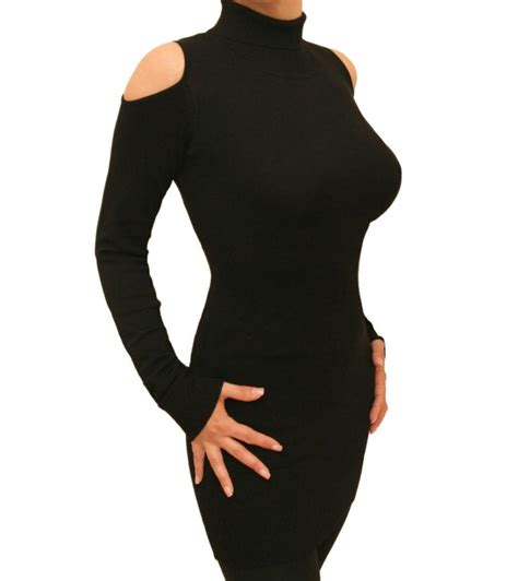 Black Cold Shoulder Polo Neck Jumper