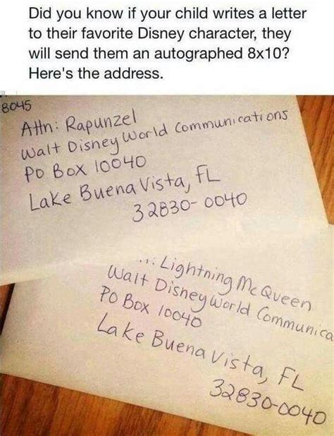 Character Letter For Youth If Your Child Writes A Letter To Their Favorite Disney Character And You Mail It To This Address