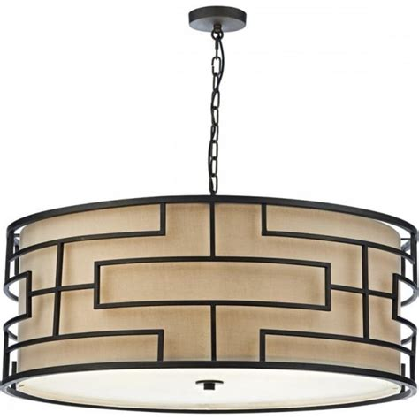 Large Hanging Ceiling Lights Large Deco Drum Pendant Ceiling Light Bronze With Linen Shade