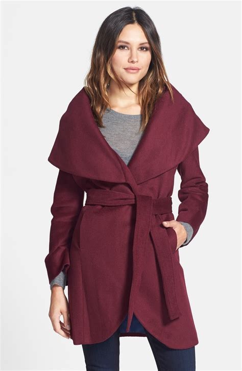 Wool Blend Wrap Coat t tahari wool blend belted wrap coat nordstrom