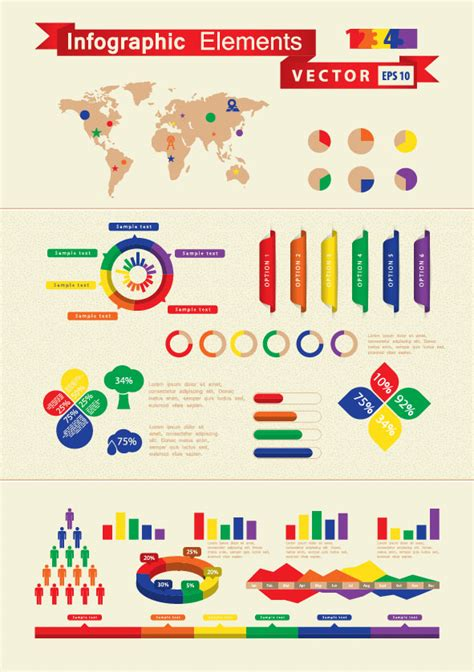 infographics and chart design elements vector set set of infographics and chart elements vector 02 vector