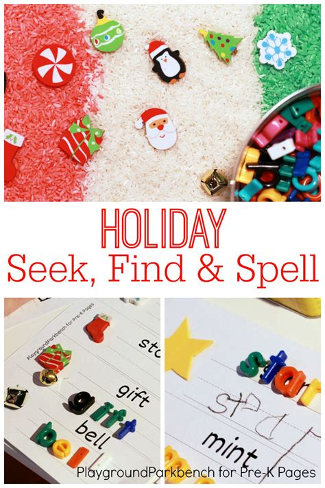 large group preschool christmas activities seek find and spell pre k pages