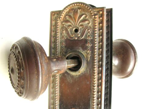 antique architectural hardware door knob plate set by
