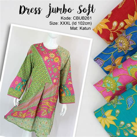 Ff155 Sale Akhir Tahun Baju Jumbo Murah Atasan Cewek Fit To dress batik jumbo soft motif bunga blus lengan panjang