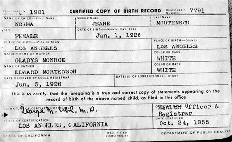 Birth Records Wisconsin Free File Marilyn Birth Certificate Jpg Wikimedia Commons