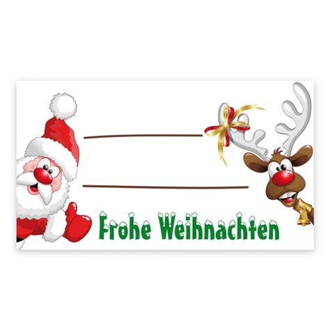 Aufkleber Weihnachten Zum Beschriften by Weihnachtsaufkleber Quot Weihnachtsmann Und Rentier Quot Zum
