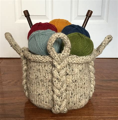 knitting basket knitting pattern entangle basket knitting pattern