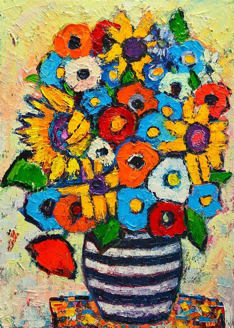 Vase Flower Painting by Abstract Flowers Sunflowers And Colorful Poppies In