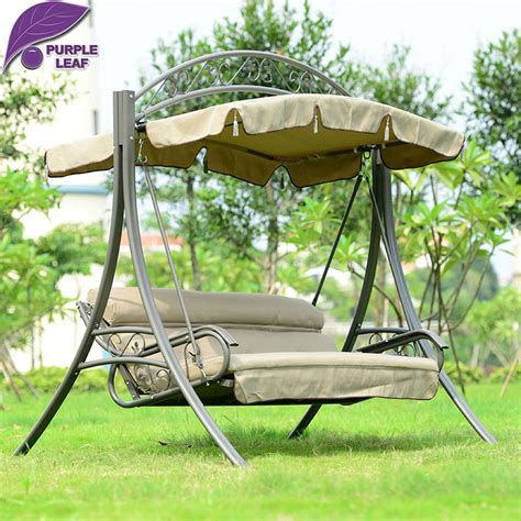 swinging bed frame purple leaf patio swing lawson ridge 3 person hammock