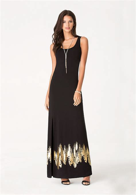 Maxi Friends Foil foil feather maxi dress black dresses bebe