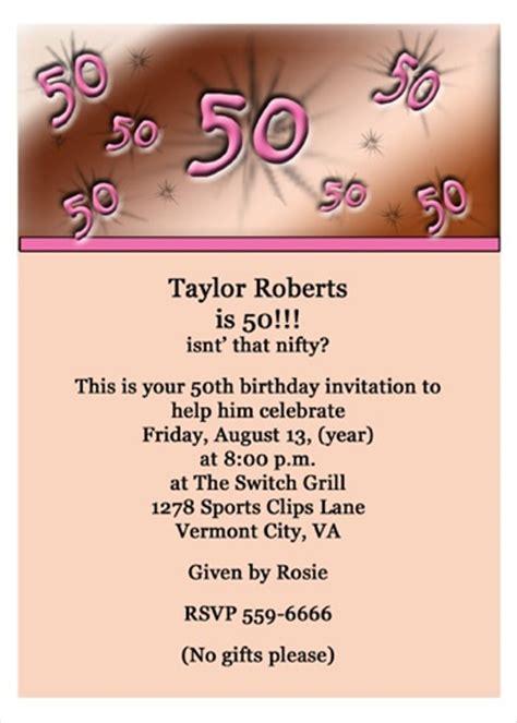 invitation for 50th birthday wording 50th birthday invitations for your 50th birthday celebration porter www