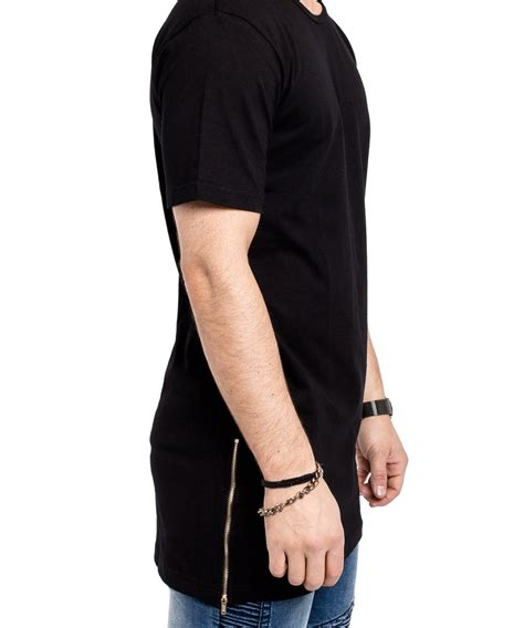 T Shirt Zipper Black oversize side zip t shirt black clothing shop
