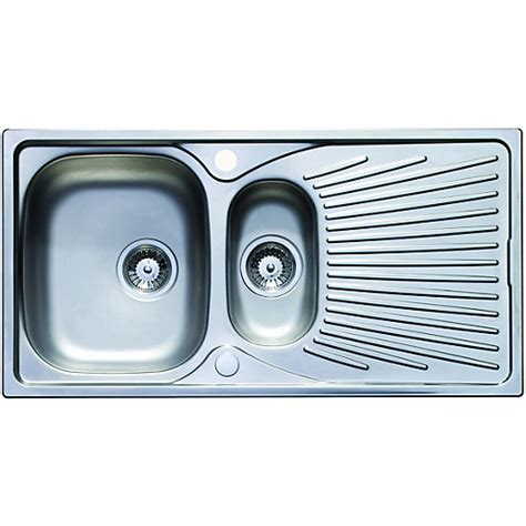 Wickes Kitchen Sinks Wickes Luxe 1 5 Bowl Kitchen Sink Stainless Steel Wickes Co Uk