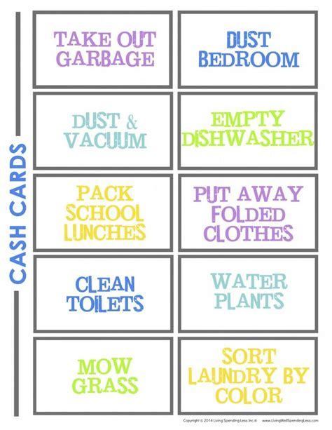 printable chore card template best 25 printable chore cards ideas on chore